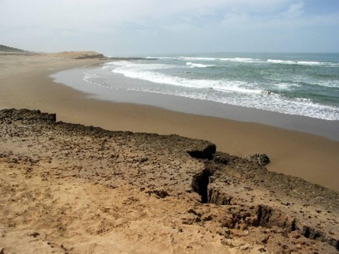 Plage située à 400 m.du gîte.(plage de Sidi Boulfdail)