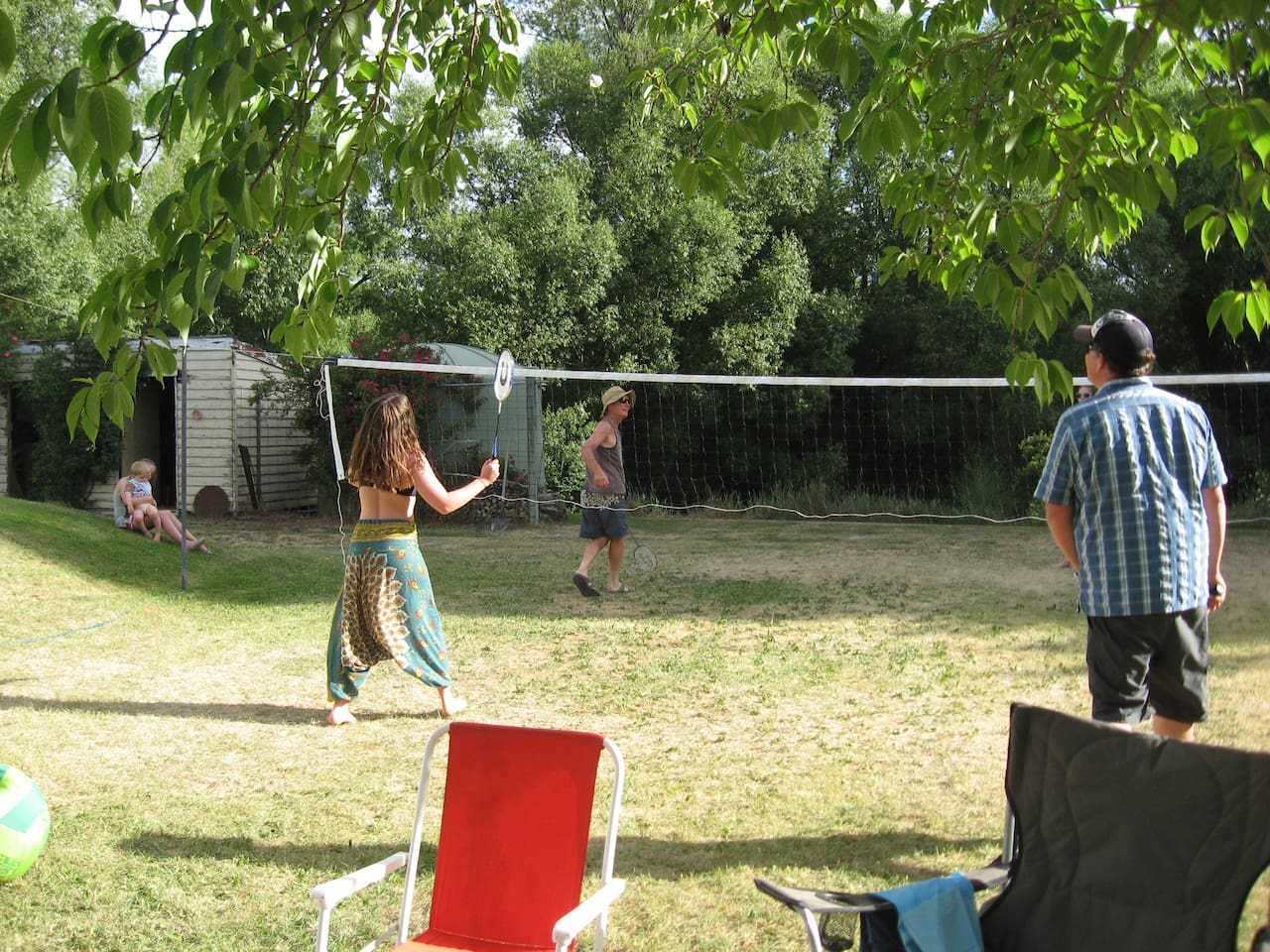 Badminton on the lawn