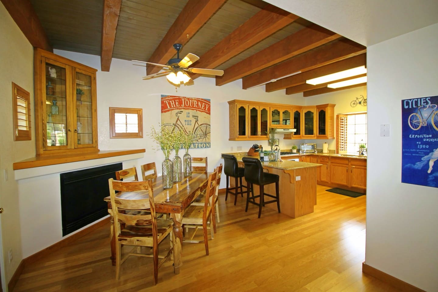 Main Level: Warm and welcoming kitchen and dining room.