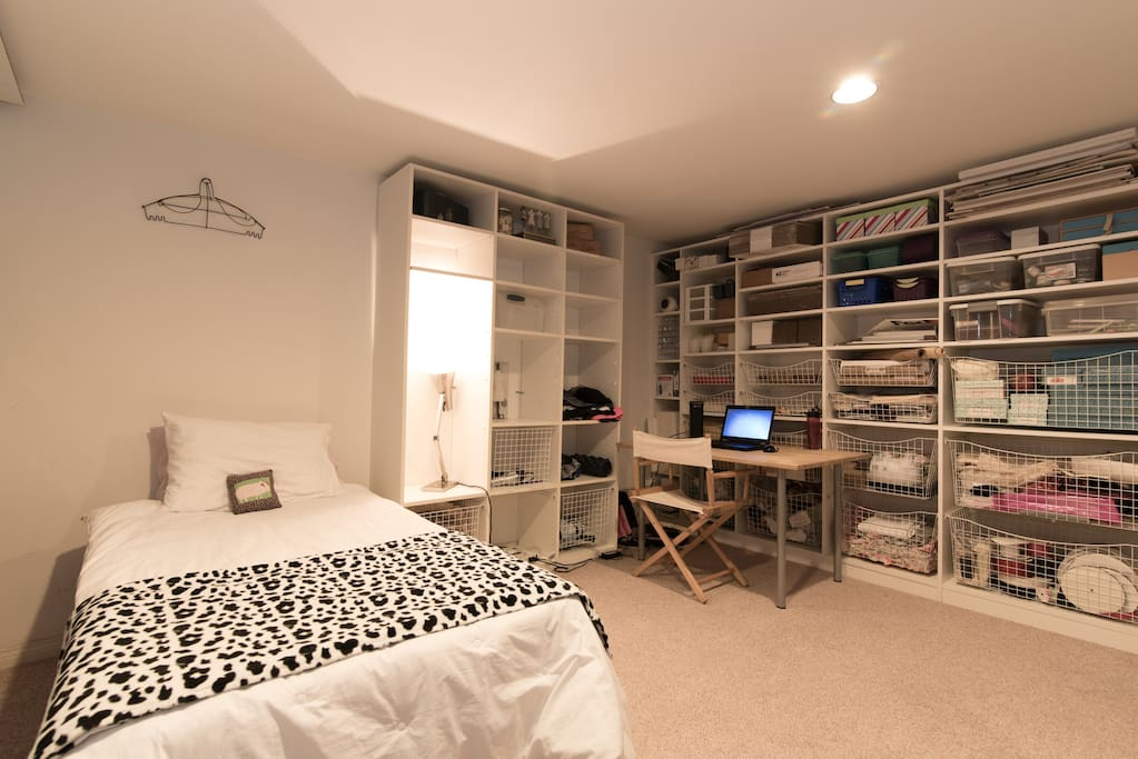Twin bed and storage area
