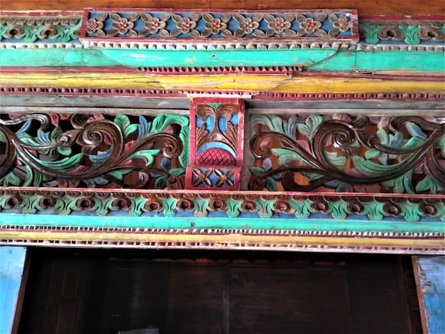 crafted wood beam with the original paint