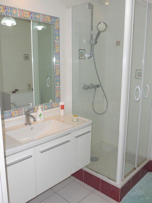 Salle de bain moderne, bien équipée