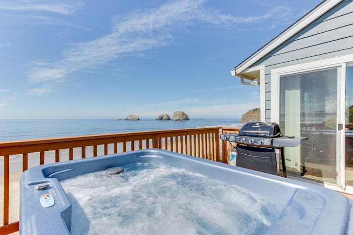 Beachfront, dog-friendly cottage w/ private hot tub and stunning views!