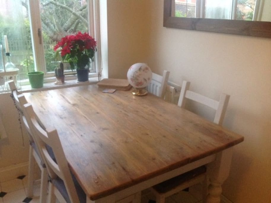 Our beautiful kitchen table, perfect for a lovely meal or to study.