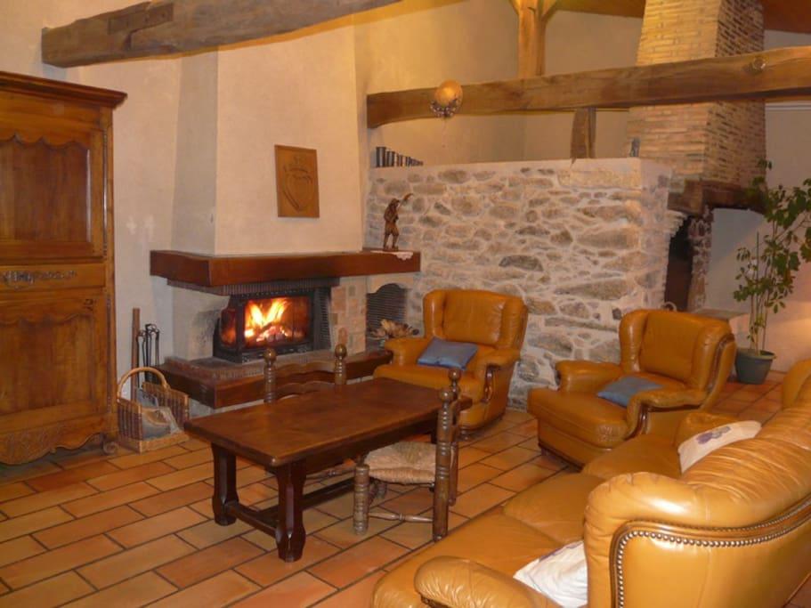Grand salon chaleureux avec cheminée