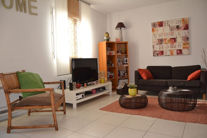 Salon composé de 2 Canapés. Pièce Climatisée