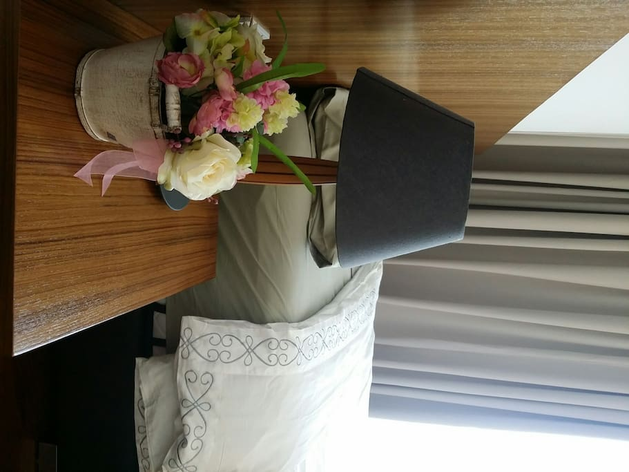Solid burmese teak wood bedhead with bedside tables