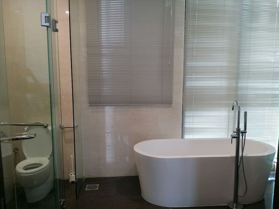 free standing bath tub with imported marble to floor and wall; kohler sanitary wares; separate rainshower