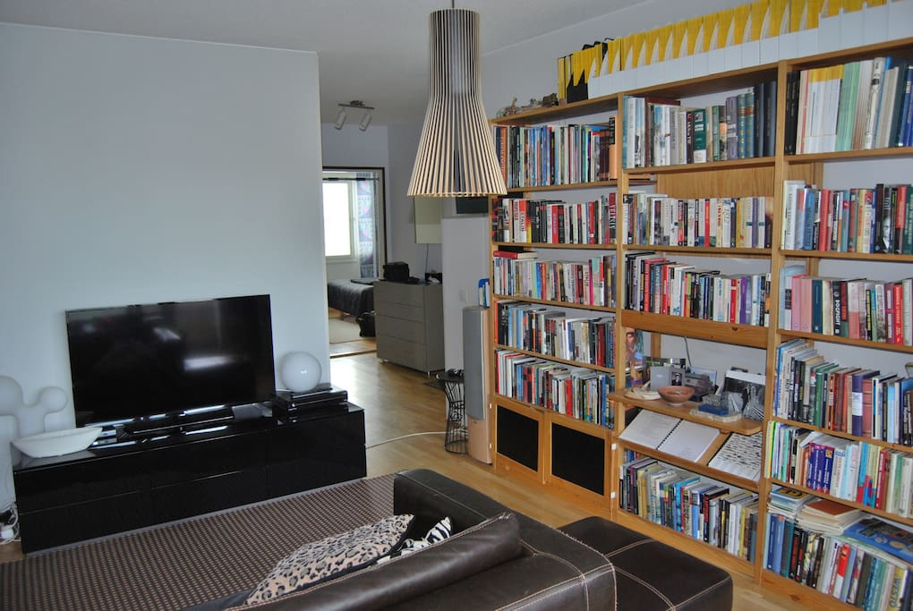 Living room with plenty of  books in English...