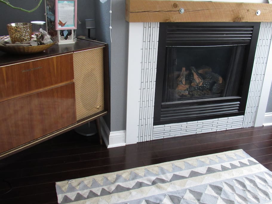 Gas fireplace to keep warm in the winter months