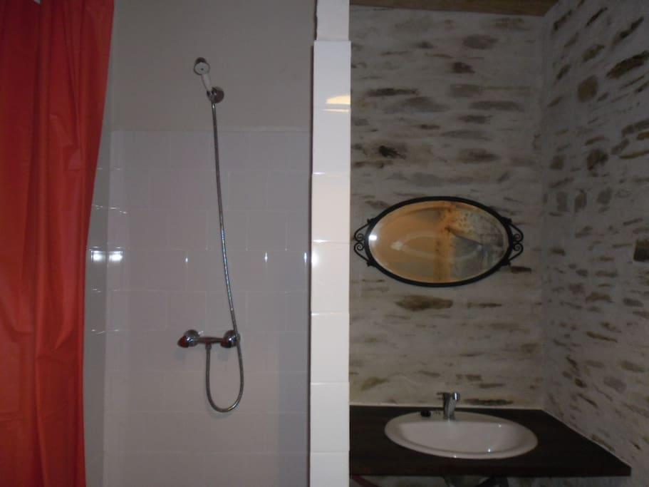 badkamer met douche wc en wastafel
