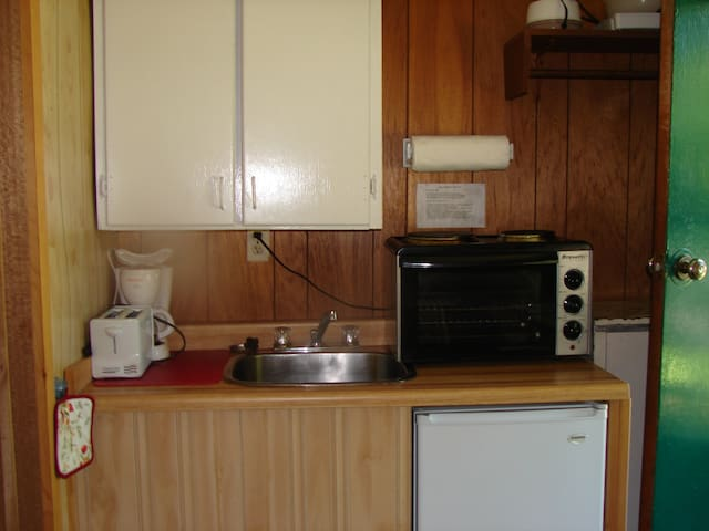 Kitchenette with cooking burner, oven, microwave, coffee maker, toaster, kettle, dishes, etc., bar  fridge