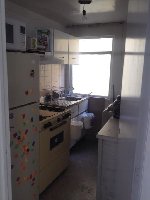 The kitchen with a washing machine, an oven, a microwave and a fridge