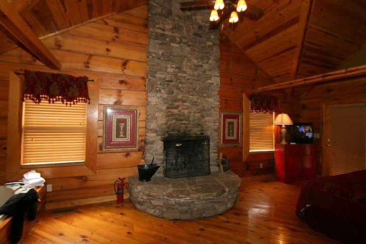 Massive Wood Fireplace