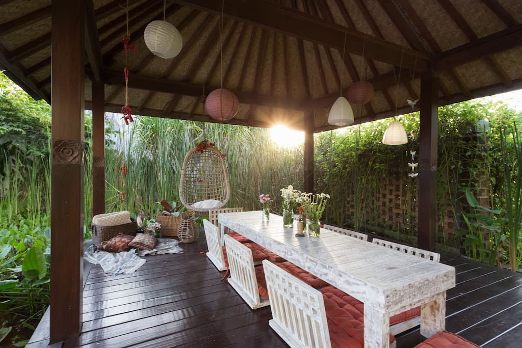 The cabana is an ideal place to dine or meditate catching the sunrise to one side and sunset to the other.