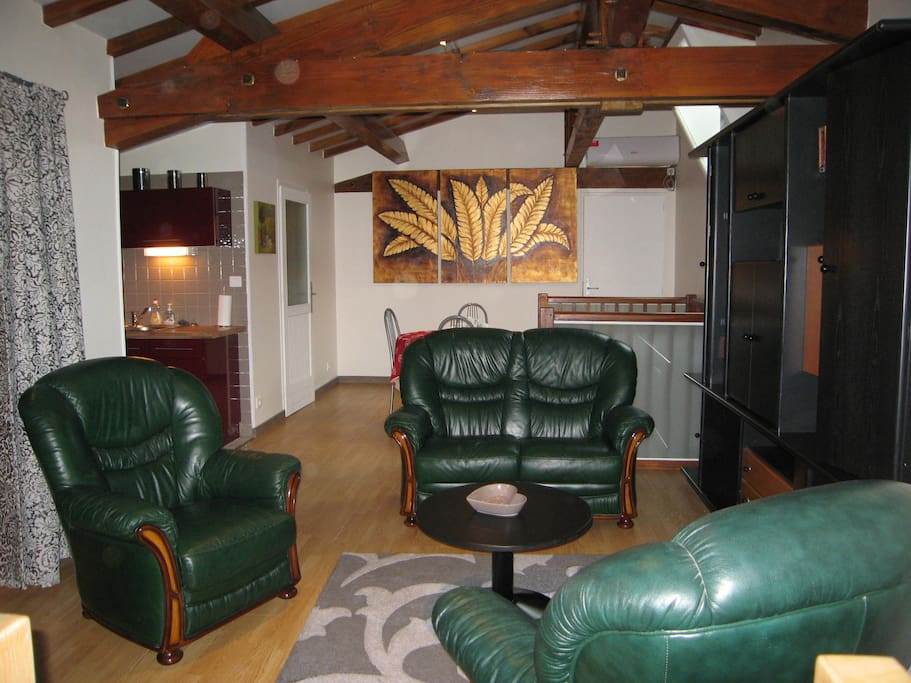 Le salon - salle à manger : un canapé deux place, deux fauteuils, un récepteur de télévision écran plat,une table ronde et 3 chaises. Climatisation réversible.