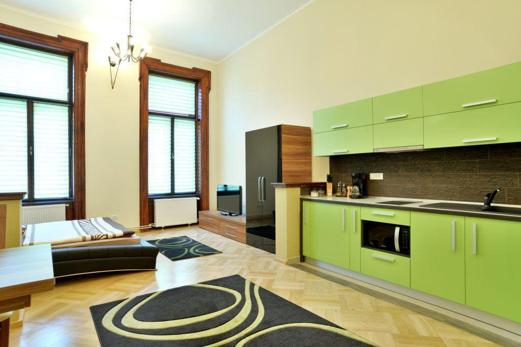 The fully equipped kitchenette