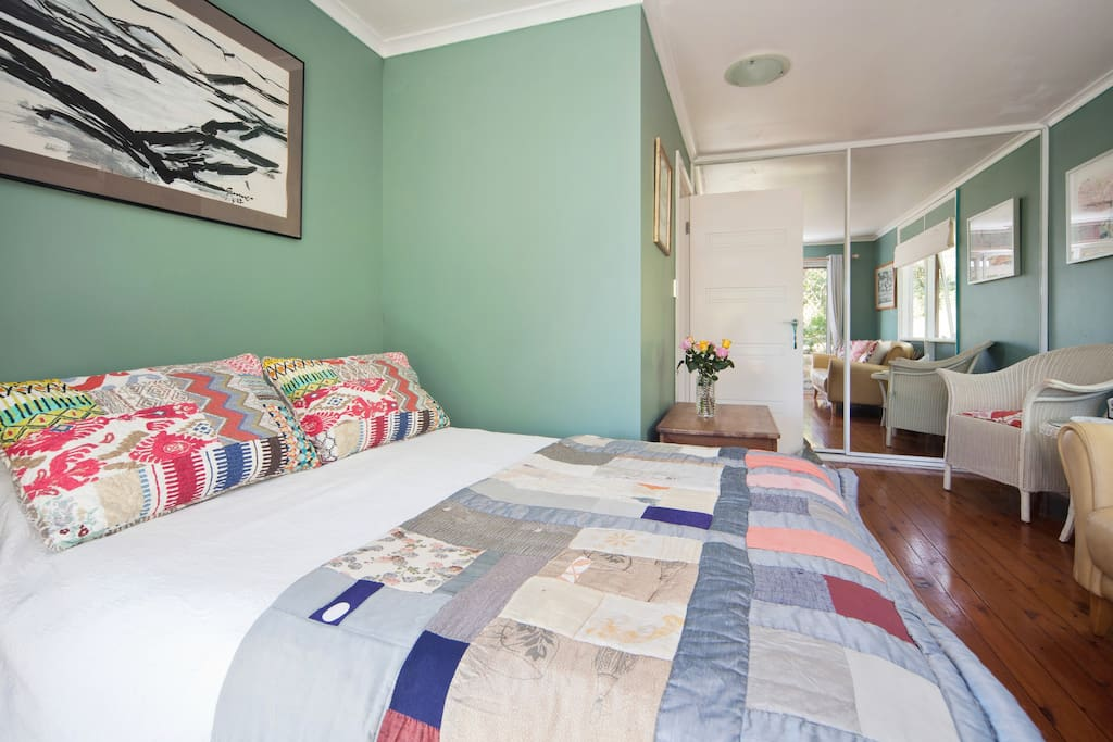 This is your beautiful comfortable bed, looking from your private entrance.