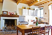 2nd Kitchen with fireplace, gas oven, dishwasher, large gas stove, fridge, freezer