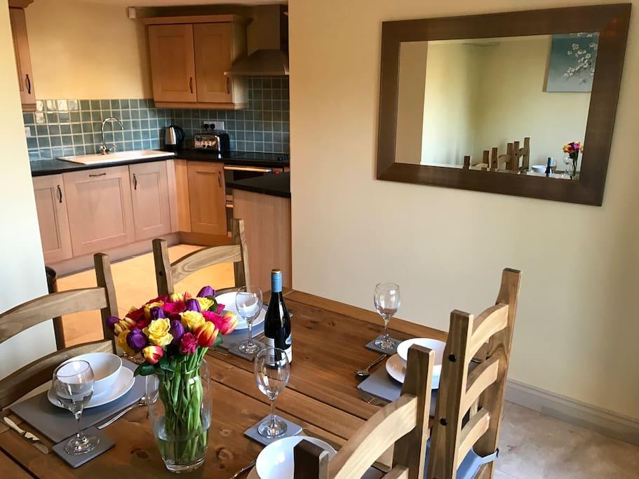 Bright dining area overlooking garden
