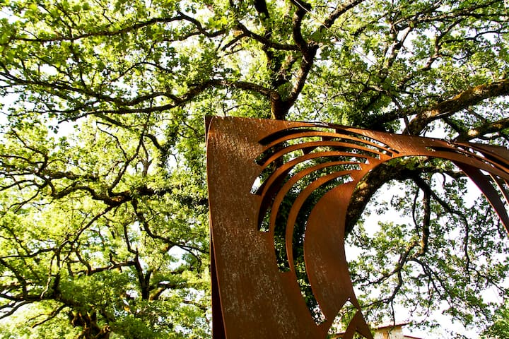 Contemporary art sculptures in the garden around the villa