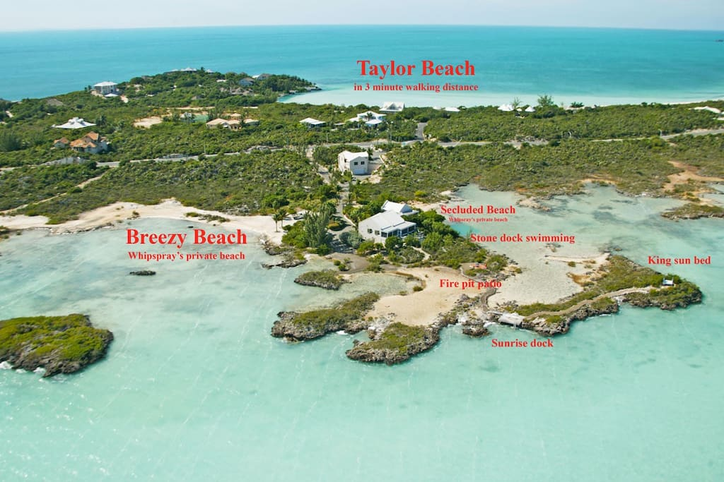 Property Layout with Whipspray private beaches