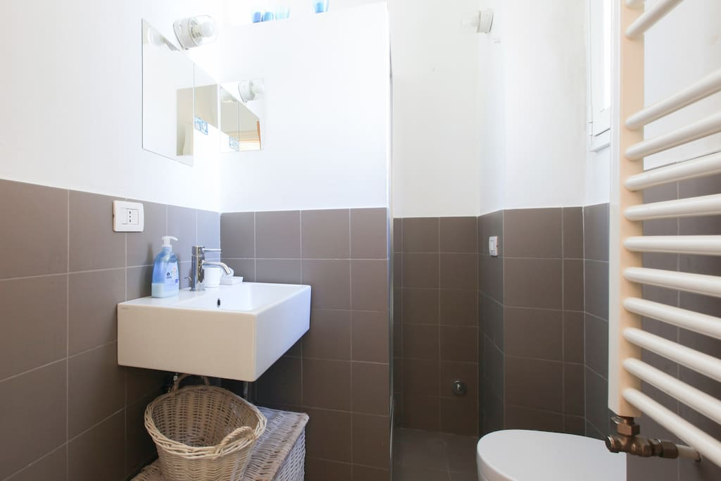 Comfortable bathroom with shower