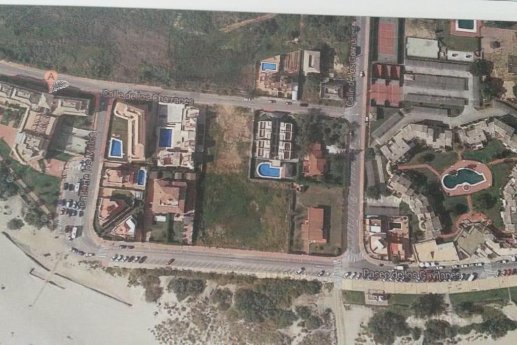 Foto aérea de la situación del apartamento.