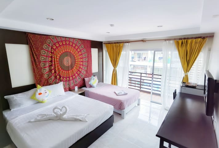 Open🔥/Patong Center Twin bed/ Wz Kitchen&Washing