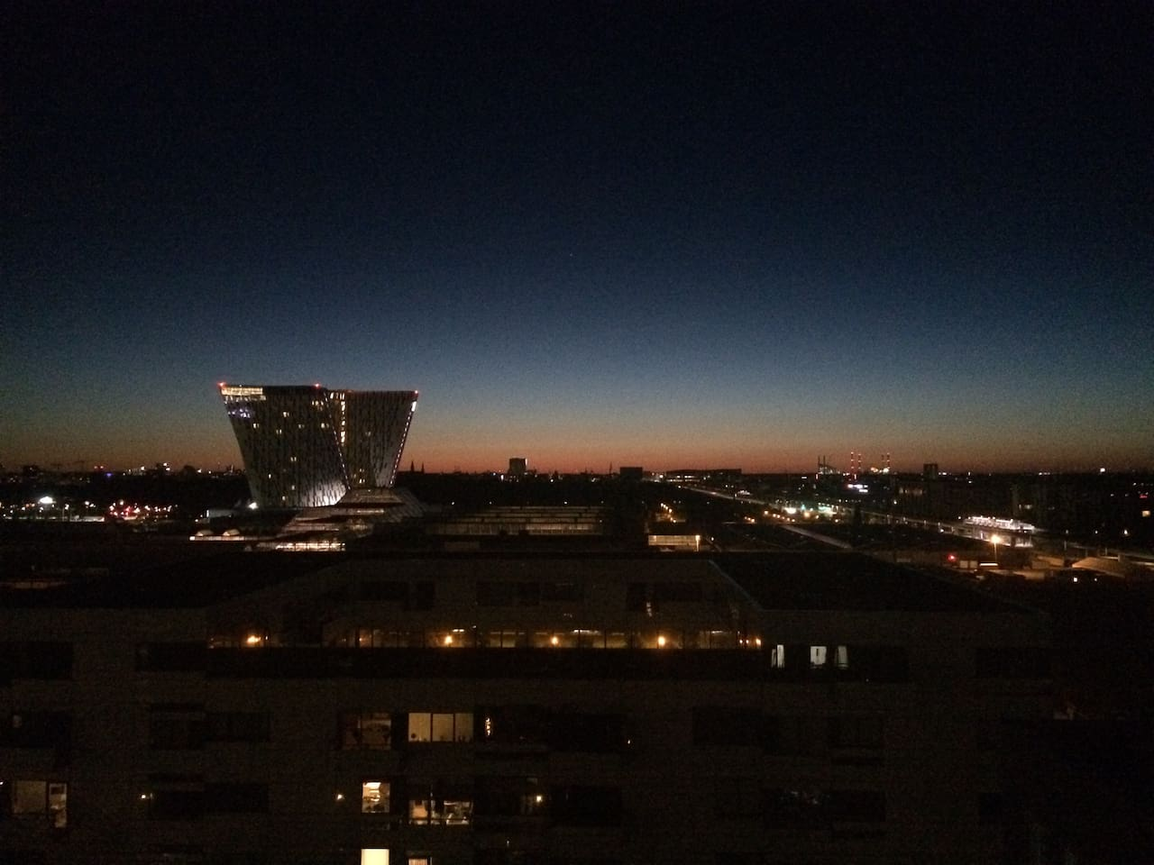 Copenhagen evening, with the Bella Sky hotel and Conference Center in the foreground