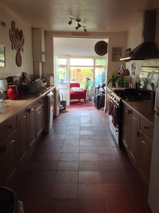 Our 'bowling alley' kitchen. Enough room for five chefs and plenty of onlookers!