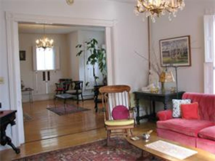 Formal parlor with cable TV