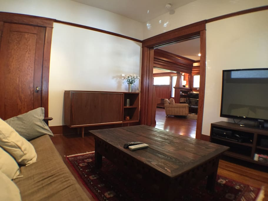 Private den with comfortable sofa bed and TV that can be rolled into any room.
