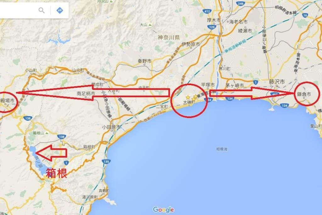 Between Hakone & Kamakura 箱根と鎌倉の間の位置 湘南平のすぐした