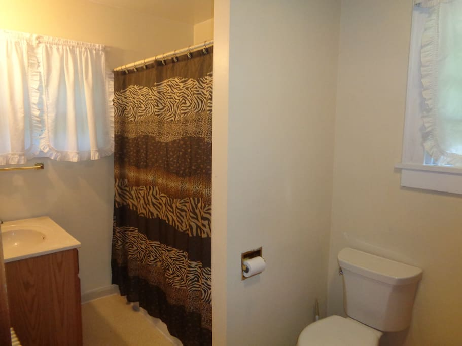 A full bathroom opens directly from the guest room.