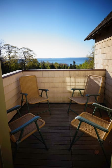 private deck seats four with view of Penobscot Bay