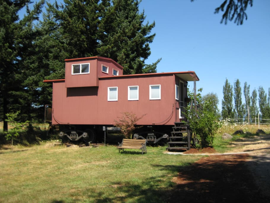 The outside of the caboose.