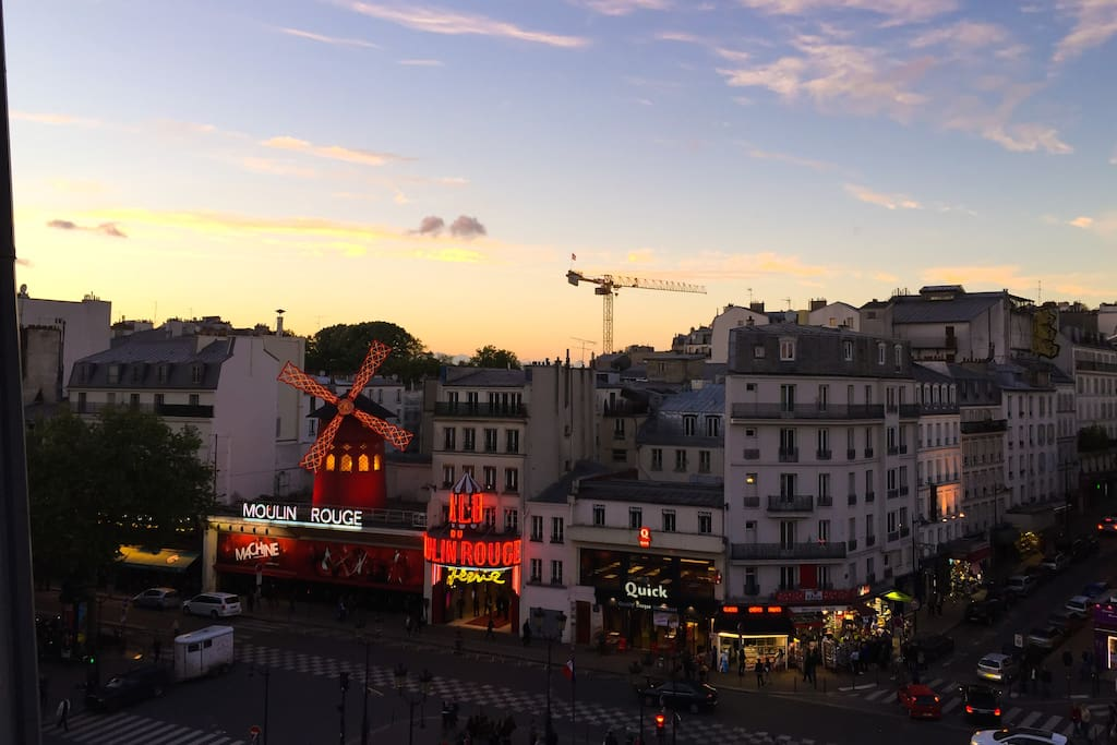with romantic view on Moulin Rouge