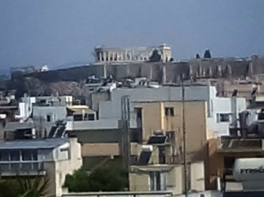 Excellent view from the large balcony of The Acropolis and The Parthenon of Athens