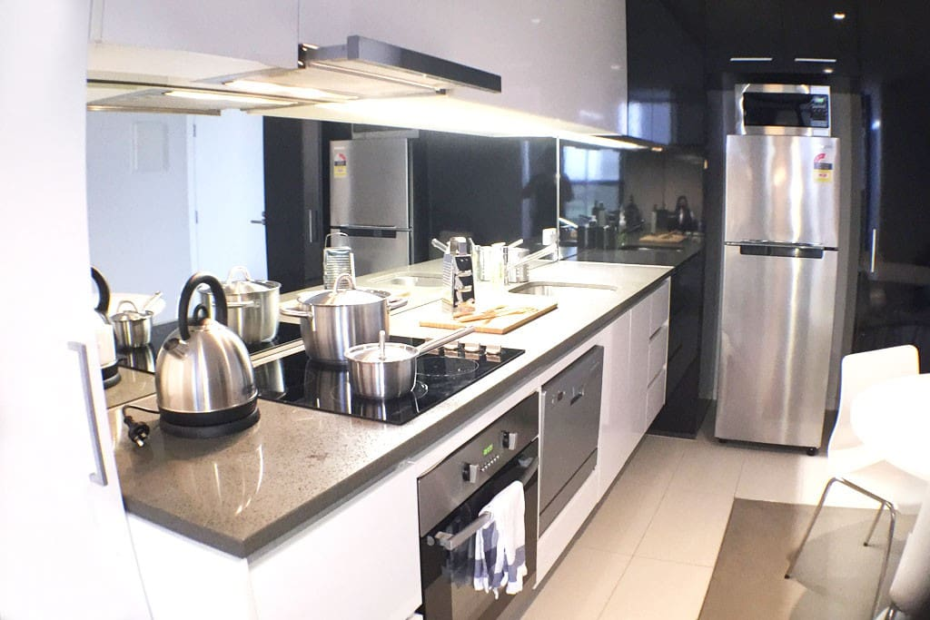 Full stainless steel kitchen appliances.