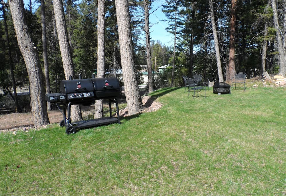 Fire Pit and BBQ grill included.  Propane & briquettes provided for grill.  Fire wood provided for fire pit.