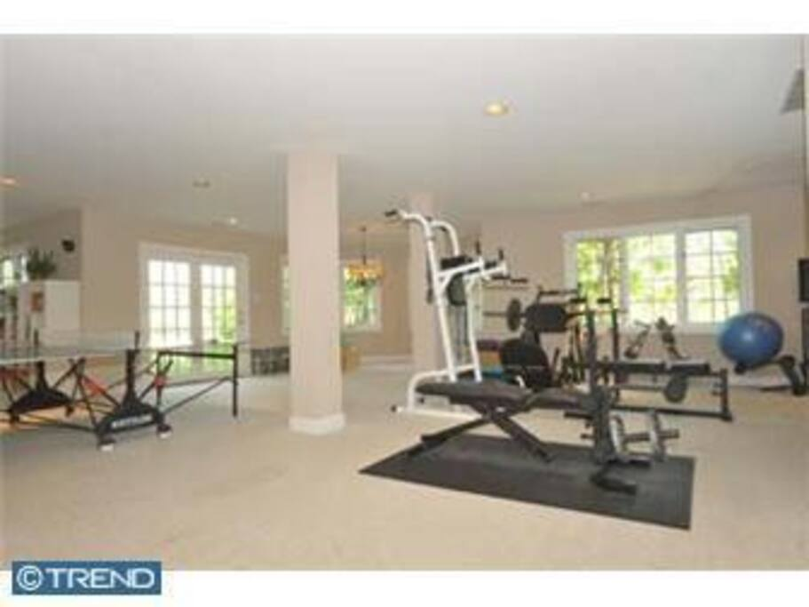 Gym equipment in basement