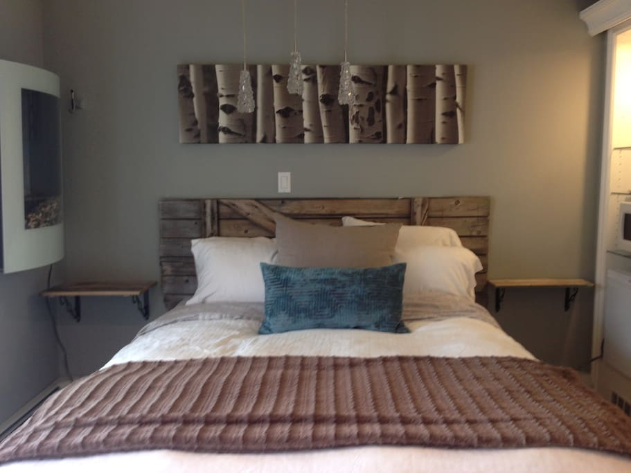 Comfortable beds with luxury bedding