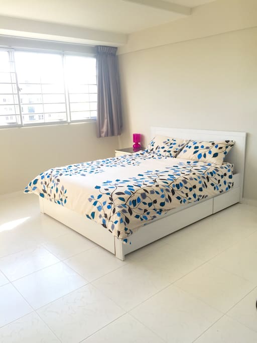 It's a very spacious room and our previous guests mentioned our bed is comfortable. There is a hard and soft pillow to cater to different preferences.