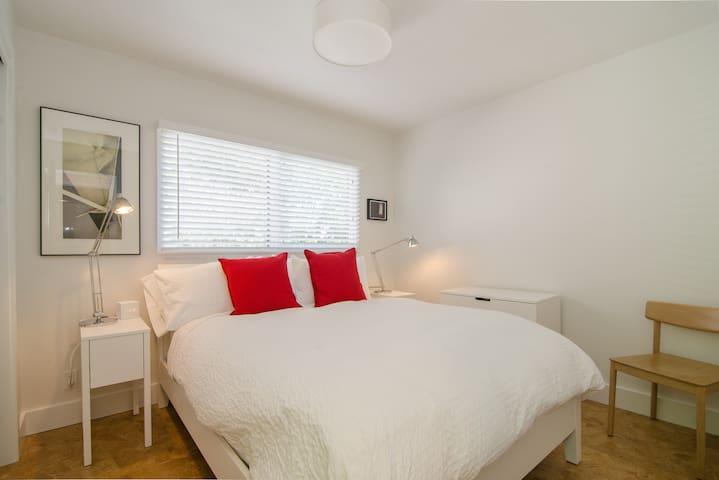 Bedroom #1: Deluxe Queen-Size Simmons Beautyrest Mattress.  Generous closet space with plenty of hangers. Duvets are always freshly washed.