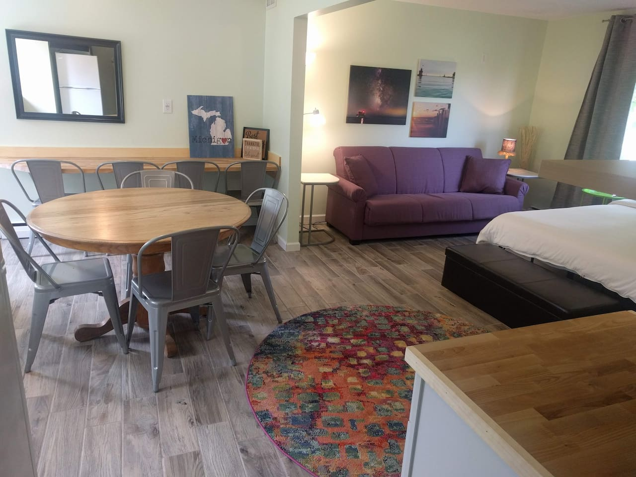 Your studio is attached to our inn, but has its own private entrance and back door to your patio and the shared backyard space with sand volleyball, playground, yard games, and campfire pit.