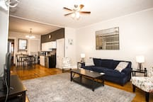 Newly renovated open concept living space