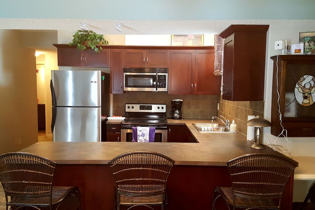 Full kitchen with All the comforts of home.  Coffee, tea and hot chocolate for your convenience.