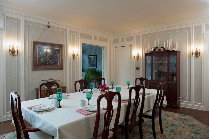 Full delicious breakfast is served in the dining room each morning.  Let us know if you don't want to meet other guests.