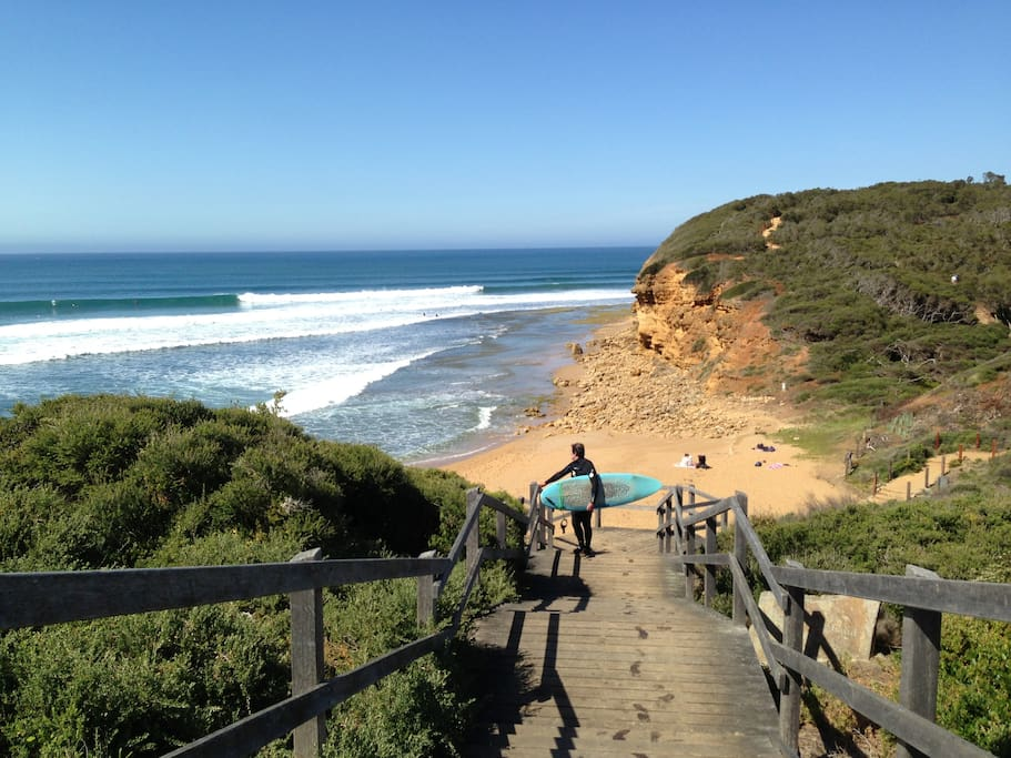 Close to the best surf including Bells beach (that's Ted after catching some waves!)